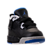 Three Quarter view of Boys' Toddler Jordan Retro 4 Basketball Shoes in Black/Soar/Matte Silver/White
