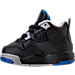 Left view of Boys' Toddler Jordan Retro 4 Basketball Shoes in Black/Soar/Matte Silver/White