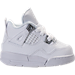 Right view of Boys' Toddler Jordan Retro 4 Basketball Shoes in White/Metallic Silver/Pure Platinum