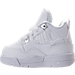 Left view of Boys' Toddler Jordan Retro 4 Basketball Shoes in White/Metallic Silver/Pure Platinum