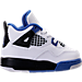 Right view of Boys' Toddler Jordan Retro 4 Basketball Shoes in White/Game Royal/Black