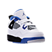 Three Quarter view of Boys' Toddler Jordan Retro 4 Basketball Shoes in White/Game Royal/Black