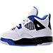 Left view of Boys' Toddler Jordan Retro 4 Basketball Shoes in White/Game Royal/Black
