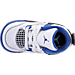 Top view of Boys' Toddler Jordan Retro 4 Basketball Shoes in White/Game Royal/Black