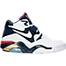Right view of Men's Nike Air Force 180 Basketball Shoes in White/Midnight Navy/Gold/Solar Red