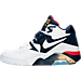 Left view of Men's Nike Air Force 180 Basketball Shoes in White/Midnight Navy/Gold/Solar Red