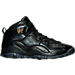 Right view of Boys' Grade School Jordan Retro 10 Basketball Shoes in Black/Dark Grey/Metallic Gold