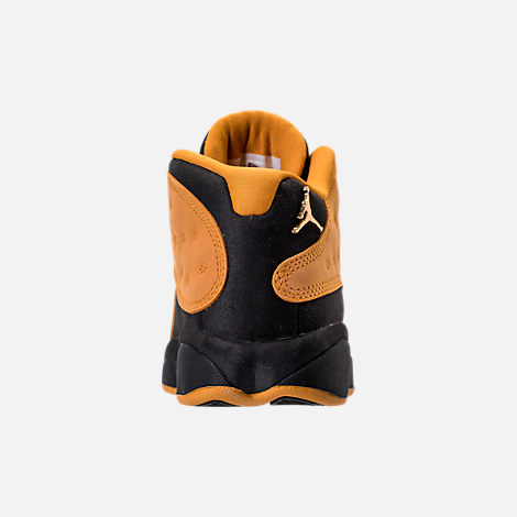 Back view of Boys' Grade School Air Jordan Retro 13 Low Basketball Shoes in Black/Chutney