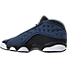 Left view of Boys' Grade School Air Jordan Retro 13 Low Basketball Shoes in Brave Blue/Metallic Silver/Black