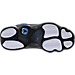 Bottom view of Boys' Grade School Air Jordan Retro 13 Low Basketball Shoes in Brave Blue/Metallic Silver/Black