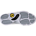 Bottom view of Boys' Preschool Air Jordan Retro 13 Low Basketball Shoes in White/Metallic Silver/Pure Platinum