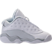 Right view of Boys' Toddler Jordan Retro 13 Low Basketball Shoes in White/Metallic Silver/Pure Platinum