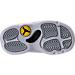 Bottom view of Boys' Toddler Jordan Retro 13 Low Basketball Shoes in White/Metallic Silver/Pure Platinum