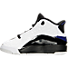Left view of Boys' Preschool Jordan Dub Zero Basketball Shoes in White/Concord/Black