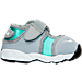 Right view of Girls' Toddler Nike Little Rift Training Shoes in Wolf Grey/White/Hyper Turq