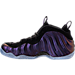 Left view of Men's Nike Air Foamposite One Basketball Shoes in Black/Varsity Purple