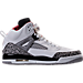Right view of Boys' Grade School Jordan Spizike Basketball Shoes in White/Varsity Red/Cement Grey