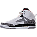 Left view of Boys' Grade School Jordan Spizike Basketball Shoes in White/Varsity Red/Cement Grey