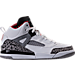 Right view of Boys' Preschool Jordan Spizike Basketball Shoes in White/Varsity Red/Cement Grey/Black