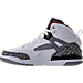 Left view of Boys' Preschool Jordan Spizike Basketball Shoes in White/Varsity Red/Cement Grey/Black