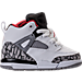 Right view of Boys' Toddler Jordan Spizike Basketball Shoes in White/Varsity Red/Cement Grey/Black