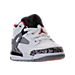 Three Quarter view of Boys' Toddler Jordan Spizike Basketball Shoes in White/Varsity Red/Cement Grey/Black