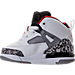 Left view of Boys' Toddler Jordan Spizike Basketball Shoes in White/Varsity Red/Cement Grey/Black