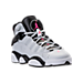 Three Quarter view of Girls' Grade School Jordan 6 Rings (3.5y-9.5y) Basketball Shoes in Pure Platinum/Hyper Pink/Black/White
