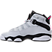 Left view of Girls' Grade School Jordan 6 Rings Basketball Shoes in Pure Platinum/Hyper Pink/Black/White