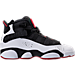 Right view of Boys' Grade School Jordan 6 Rings Basketball Shoes in Black/White/Gym Red