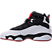 Left view of Boys' Grade School Jordan 6 Rings Basketball Shoes in Black/White/Gym Red
