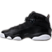 Left view of Boys' Grade School Jordan 6 Rings Basketball Shoes in Black/Matte Silver/White