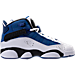 Right view of Boys' Grade School Jordan 6 Rings Basketball Shoes in Team Royal/Black/White/Metallic