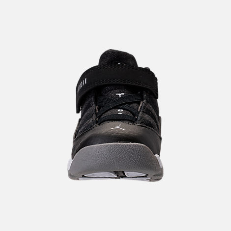 Front view of Boys' Toddler Jordan 6 Rings Basketball Shoes in Black/Matte Silver/White