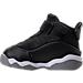 Left view of Boys' Toddler Jordan 6 Rings Basketball Shoes in Black/Matte Silver/White