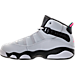 Left view of Girls' Preschool Jordan 6 Rings Basketball Shoes in Pure Platinum/Hyper Pink/Black/White