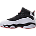 Left view of Boys' Preschool Jordan 6 Rings Basketball Shoes in Black/White/Gym Red