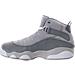 Left view of Boys' Preschool Jordan 6 Rings Basketball Shoes in Matte Silver/White/Cool Grey