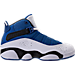 Right view of Boys' Preschool Jordan 6 Rings Basketball Shoes in Team Royal/Black/White