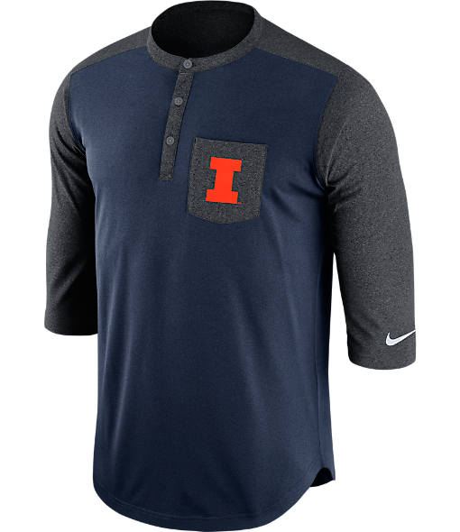 Men's Nike Illinois Fighting Illini College Dri-FIT Touch Henley Shirt