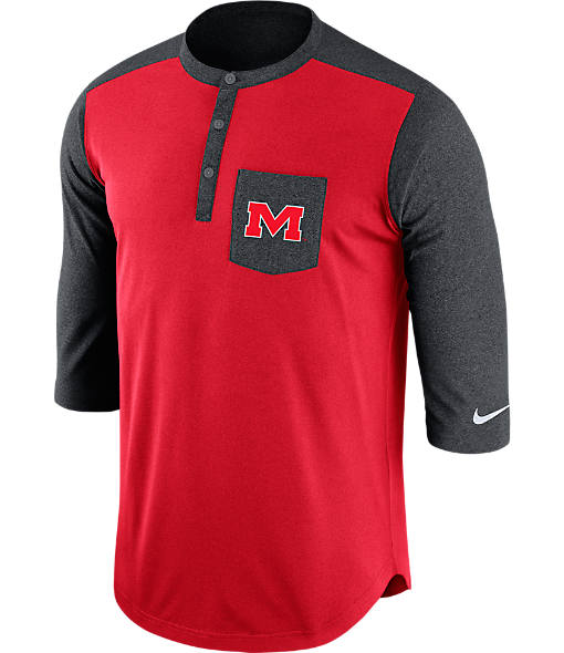 Men's Nike Mississippi Rebels College Dri-FIT Touch Henley Shirt