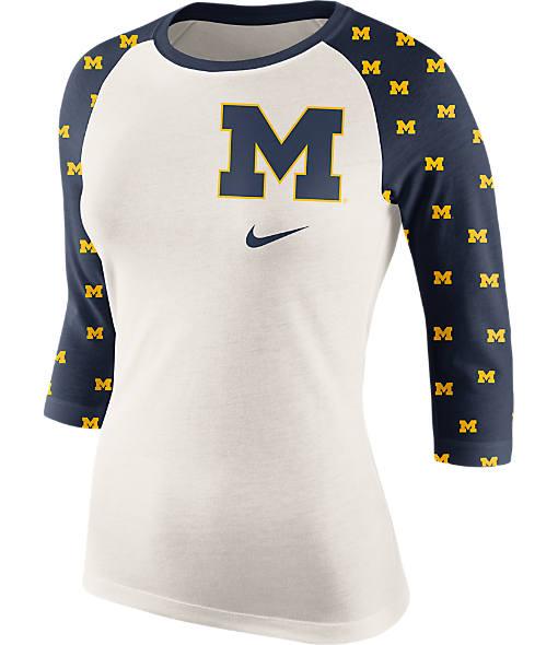 Women's Nike Michigan Wolverines College Veer Raglan T-Shirt