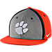 Front view of Nike Clemson Tigers College Sideline True Snapback Hat in Orange