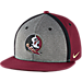Front view of Nike Florida State Seminoles College Sideline True Snapback Hat in Maroon