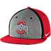 Front view of Nike Ohio State Buckeyes College Sideline True Snapback Hat in Red