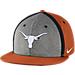 Front view of Nike Texas Longhorns College Sideline True Snapback Hat in Orange