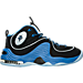 Right view of Men's Nike Air Penny II Basketball Shoes in Black/Varsity Blue/Metallic Silver