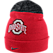 Front view of Nike Ohio State Buckeyes College Sideline Beanie in Red