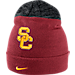 Front view of Nike USC Trojans College Sideline Beanie in Crimson