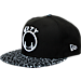 Front view of New Era Golden State Warriors NBA Composition Hook Snapback Hat in Black